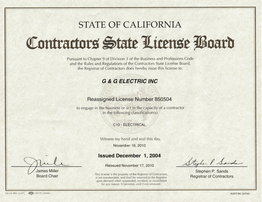 Certifications G G Electric Inc